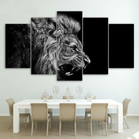 White Black Lion Roaring 5 Piece Canvas