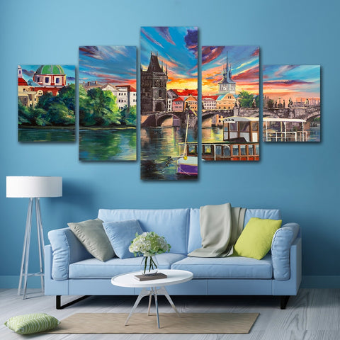 Beautiful Town 5 Piece Canvas