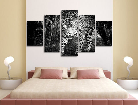 Black 'n White Leopard 5 Piece Canvas