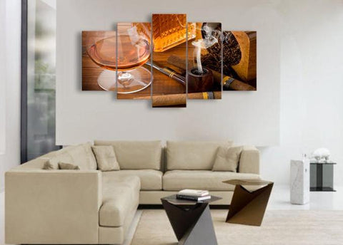 Wine and Cigar 5 Piece Canvas