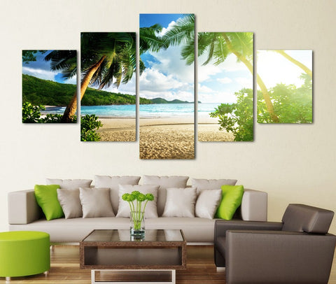 Sunny Beach Palm Tree 5 Piece Canvas