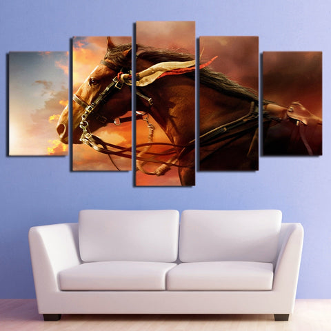 Horse Under the Setting Sun 5 Piece Canvas