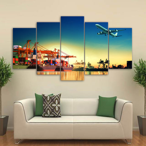 Airplane Sunset in Port 5 Piece Canvas