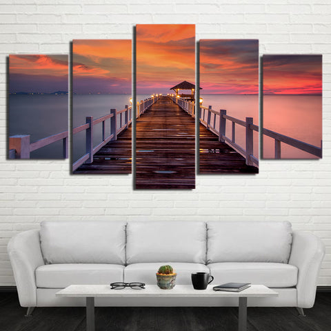 Sea Wooden Walkway Bridge 5 Piece Canvas