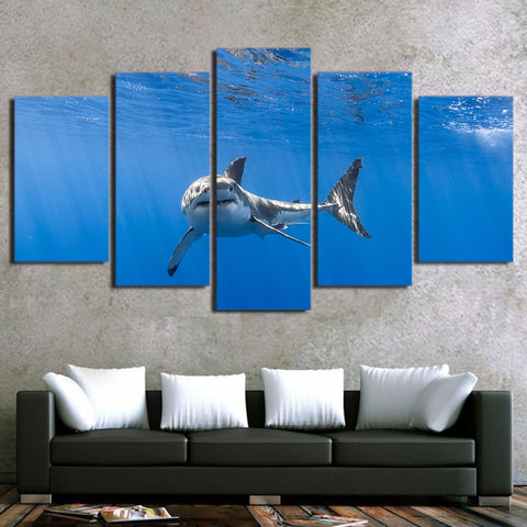 Shark in Blue Ocean 5 Piece Canvas