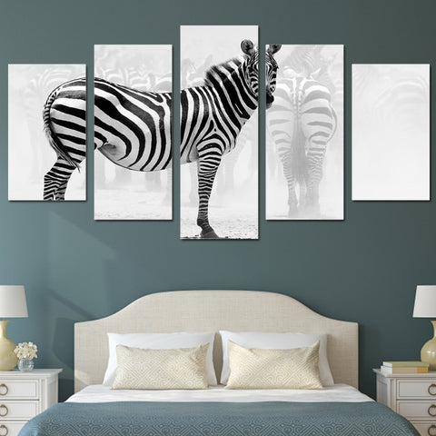 African Zebra 5 Piece Canvas