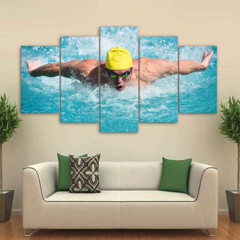 Swimming Fitness 5 Piece Canvas
