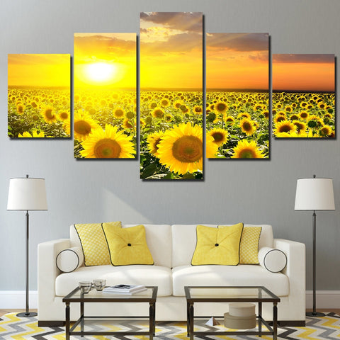 Sunflower Farm Sunset 5 Piece Canvas
