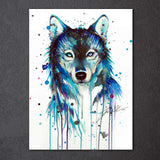 Fox in Blue by Pixie Cold Art 1 Piece Canvas
