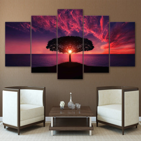 Tree Sun rise on the Sea 5 Piece Canvas