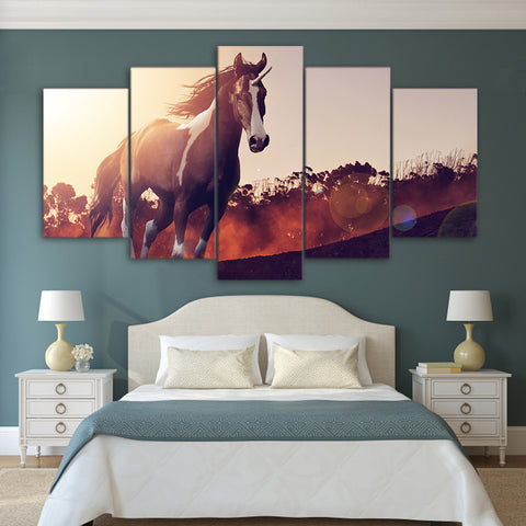 Running Mustang Horse 5 Piece Canvas