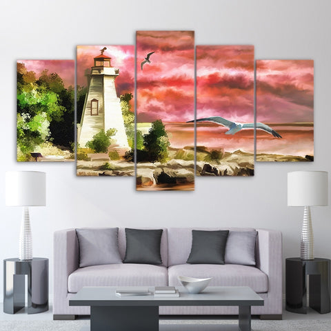 Light House Birds 5 Piece Canvas