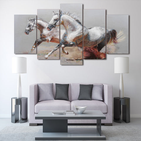 Silver Horses 5 Piece Canvas