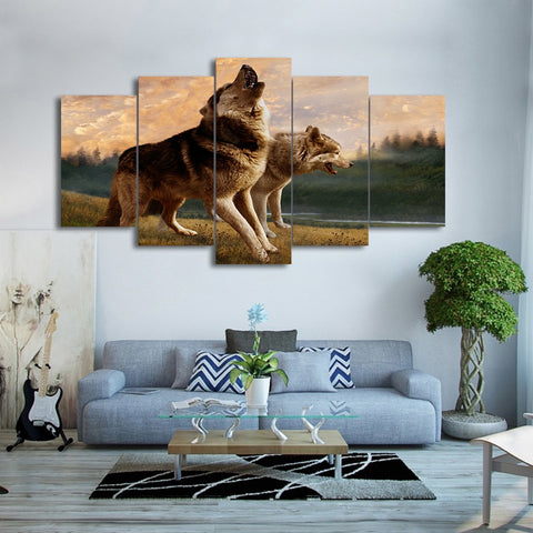Wolf Howling 5 Piece Canvas
