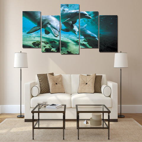 Dolphins 5 Piece Canvas