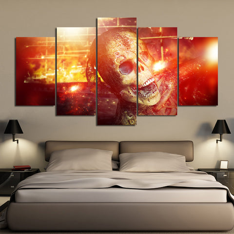 Golden Skull in Spark 5 Piece Canvas