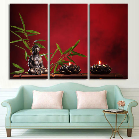 Zen Buddha Meditation 3 Piece Canvas