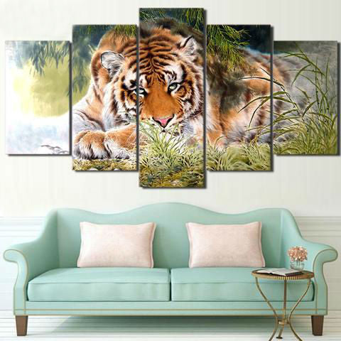 Staring Tiger 5 Piece Canvas
