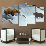 Bears Catching Fish 5 Piece Canvas