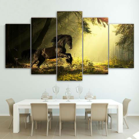 Majestic Black Horse 5 Piece Canvas