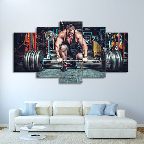 Weightlifting Man 5 Piece Canvas