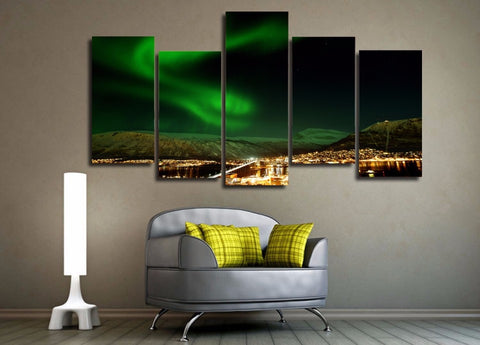 Norway Northern Lights 5 Piece Canvas