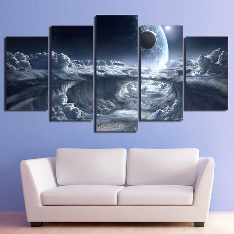 Alien Planet, Moon & Space 5 Piece Canvas