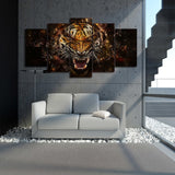 Tiger through Broken Glass 5 Piece Canvas