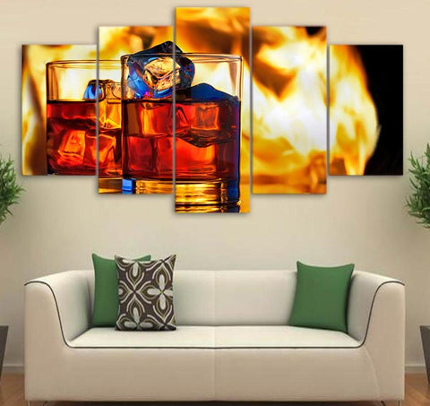 Red Wine with Ice 5 Piece Canvas