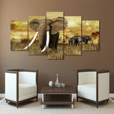 Elephants with Long Tusk 5 Piece Canvas