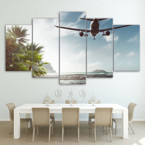 Airplane Fly Over Sea 5 Piece Canvas