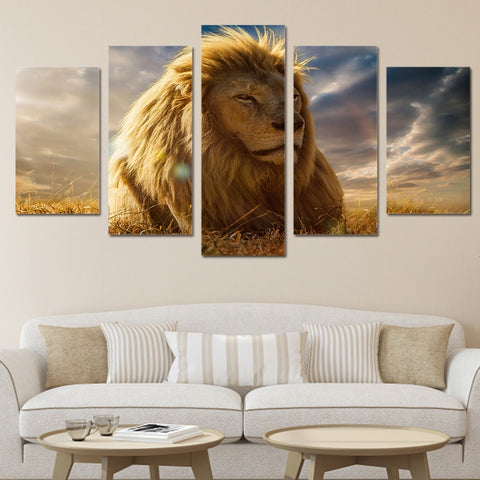 Golden Lion King 5 Piece Canvas