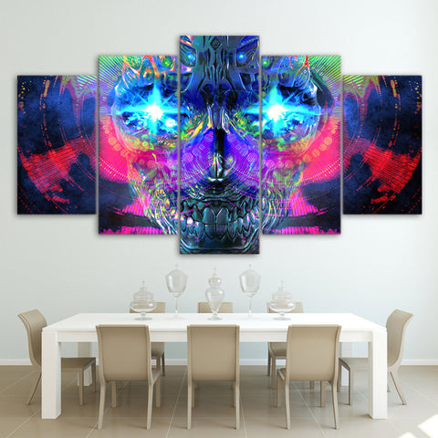 Colorful Psychedelic Skull Sugar 5 Piece Canvas