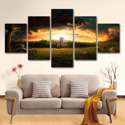 Country side Church 5 Piece Canvas