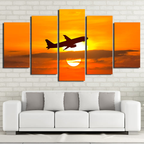 Airplane and Golden Sunset 5 Piece Canvas