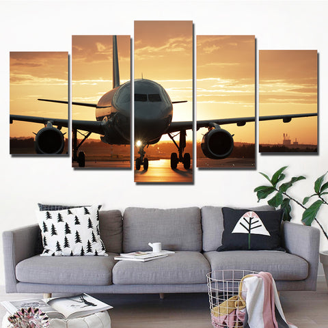 The Golden Sunset and Airplane 5 Piece Canvas