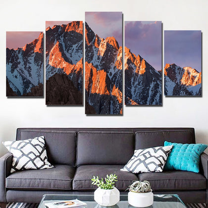 Snow Mountain Sunset 5 Piece Canvas