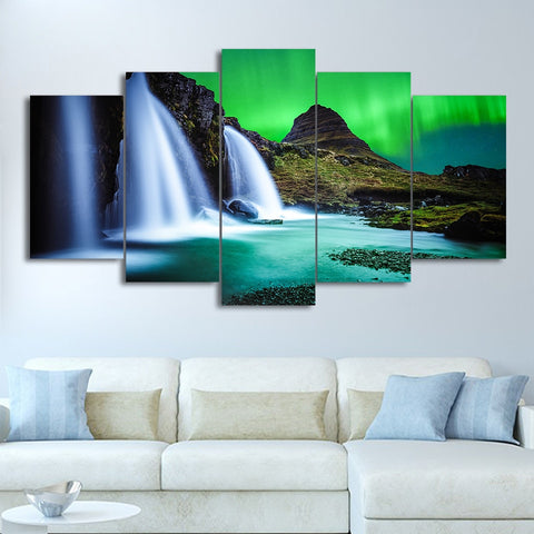 Aurora Waterfalls 5 Piece Canvas