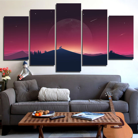 Wolf and Moon Shadow 5 Piece Canvas