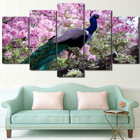 Peacock Colorful Feather 5 Piece Canvas
