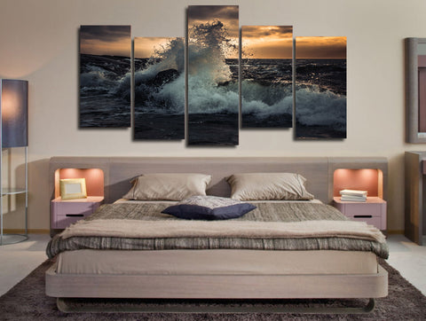 Splashy Waves of the Sea 5 Piece Canvas