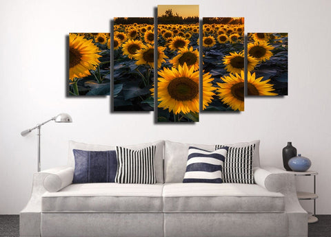 Sunflower Field In Evening 5 Piece Canvas