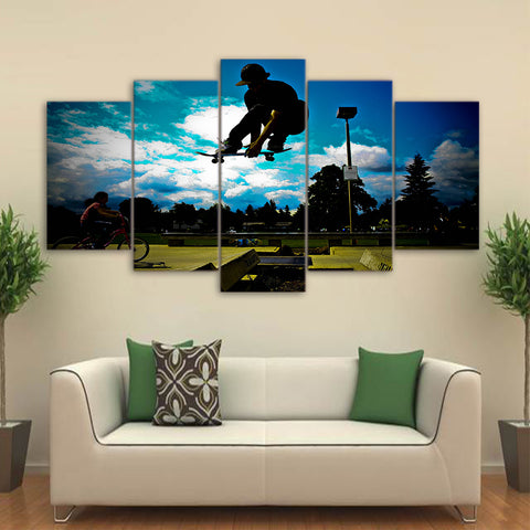 Cool Skateboard Green Land 5 Piece Canvas