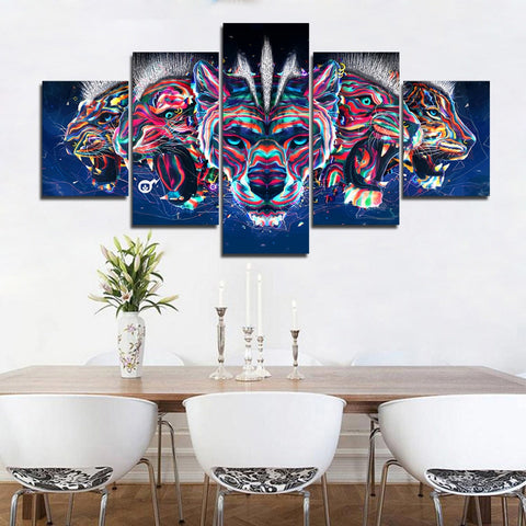 Wolves Tigers and Leopards Beast 5 Piece Canvas