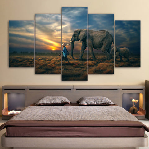Elephants Sunset 5 Piece Canvas