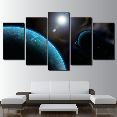 Blue Space 5 Piece Canvas