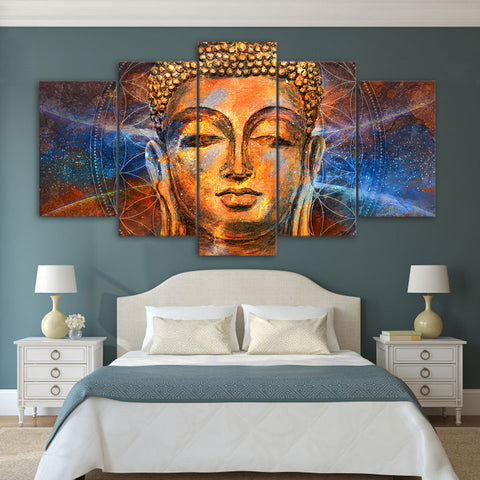 Golden Head Buddha 5 Piece Canvas