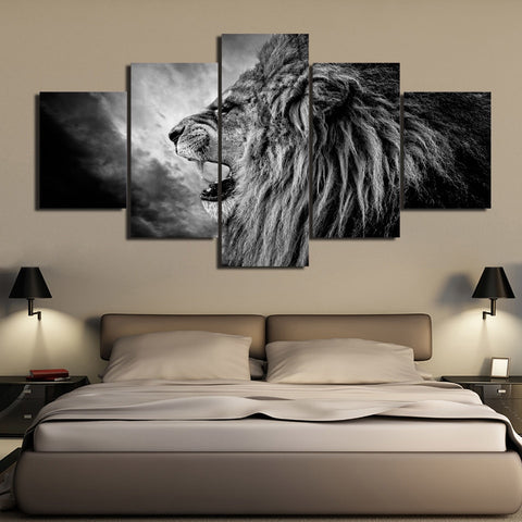 Mighty Roaring Lion 5 Piece Canvas