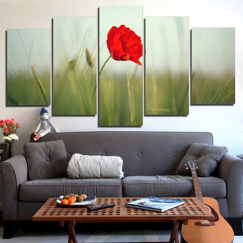Poppy Flower 5 Piece Canvas