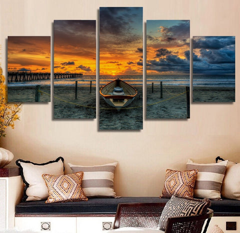Seaside Beach and Boat 5 Piece Canvas